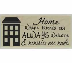 "Home Where Friends Are Welcome Stamp - 2.5"" X 1"" - Stamptopia"