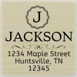 "Jackson Decorative Monogram Address Stamp - 1.5"" X 1.5"" - Stamptopia"