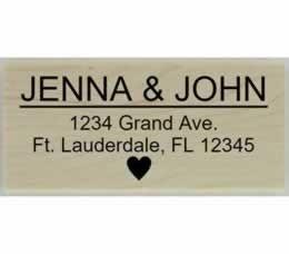 "Jenna Heart Return Address Stamp - 2.5"" X 1.25"" - Stamptopia"
