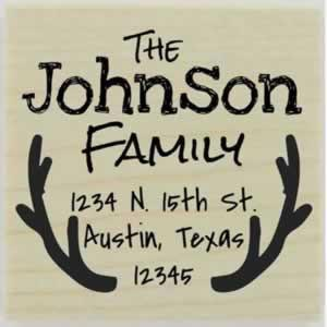 "Johnson Antler Border Address Stamp - 1.5"" X 1.5"" - Stamptopia"