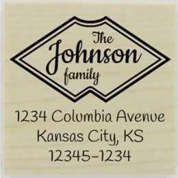 "Johnson Double Border Address Stamp - 2"" X 2"" - Stamptopia"
