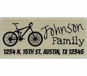 "Johnson Personalized Bicycle Address Stamp - 2.5"" X 1"" - Stamptopia"