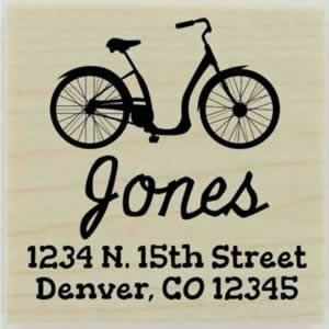 "Jones Bicycle Return Address Stamp - 1.5"" X 1.5"" - Stamptopia"