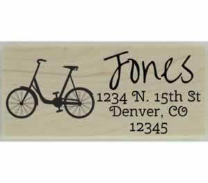 "Jones Bike Return Address Stamp - 2.5"" X 1"" - Stamptopia"