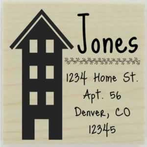 "Jones Multi-Level Address Stamp - 1.5"" X 1.5"" - Stamptopia"