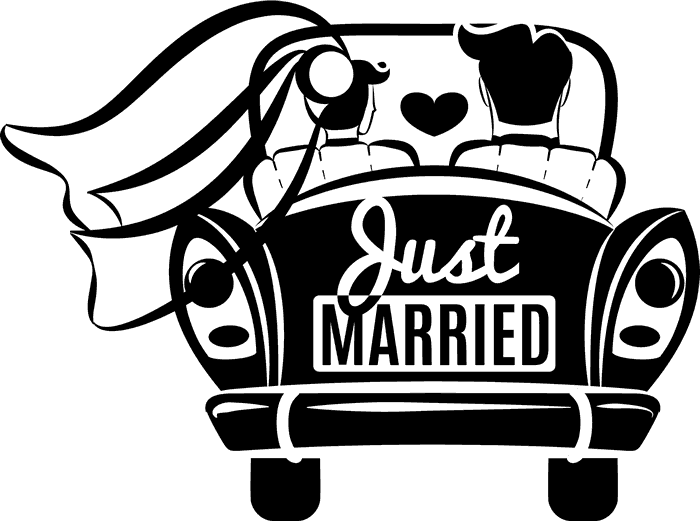 Just married car rubber stamp wedding stamps stamptopia