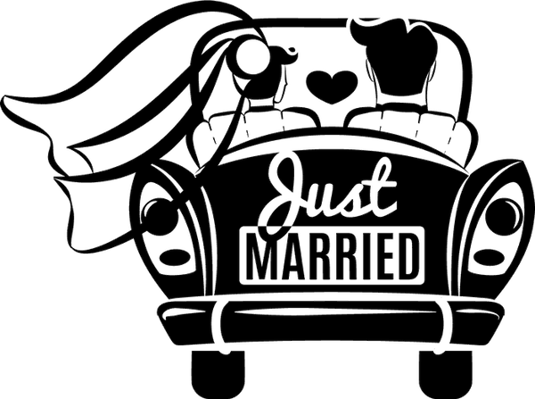 Just Married Car Rubber Stamp - Stamptopia