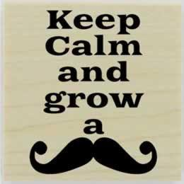 "Keep Calm And Grow A Mustache Stamp - 2"" X 2"" - Stamptopia"