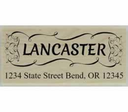 "Lancaster Decorative Name Border Stamp - 2.5"" X 1.25"" - Stamptopia"