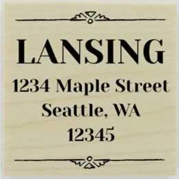 "Lansing Ornamental Border Address Stamp- 1.5"" X 1.5"" - Stamptopia"