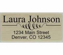 "Laura Decorative Line Address Stamp - 2.5"" X 1.25"" - Stamptopia"