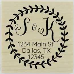"Laurel Wreath Border Monogram Address Stamp - 1.5"" X 1.5"" - Stamptopia"