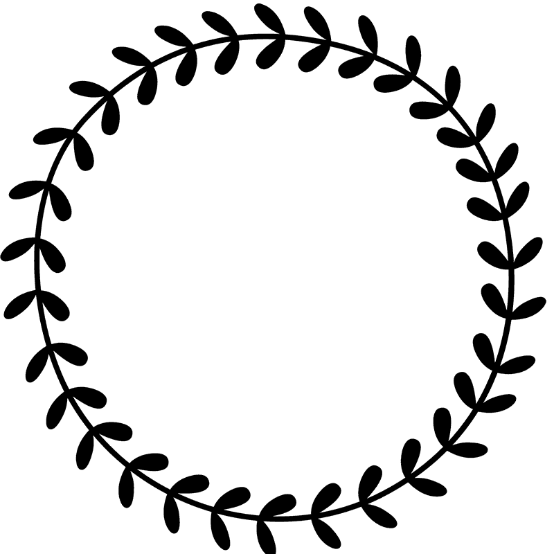 Leafy Wreath Rubber Stamp Border Circular Stamps