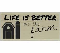 "Life Is Better On The Farm Quote Stamp - 2.5"" X 1"" - Stamptopia"