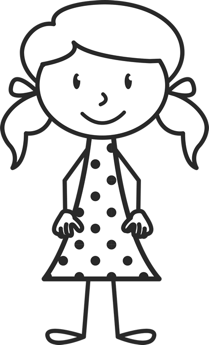 Little Girl With Pigtails And Polka Dot Dress Stamp - Stamptopia