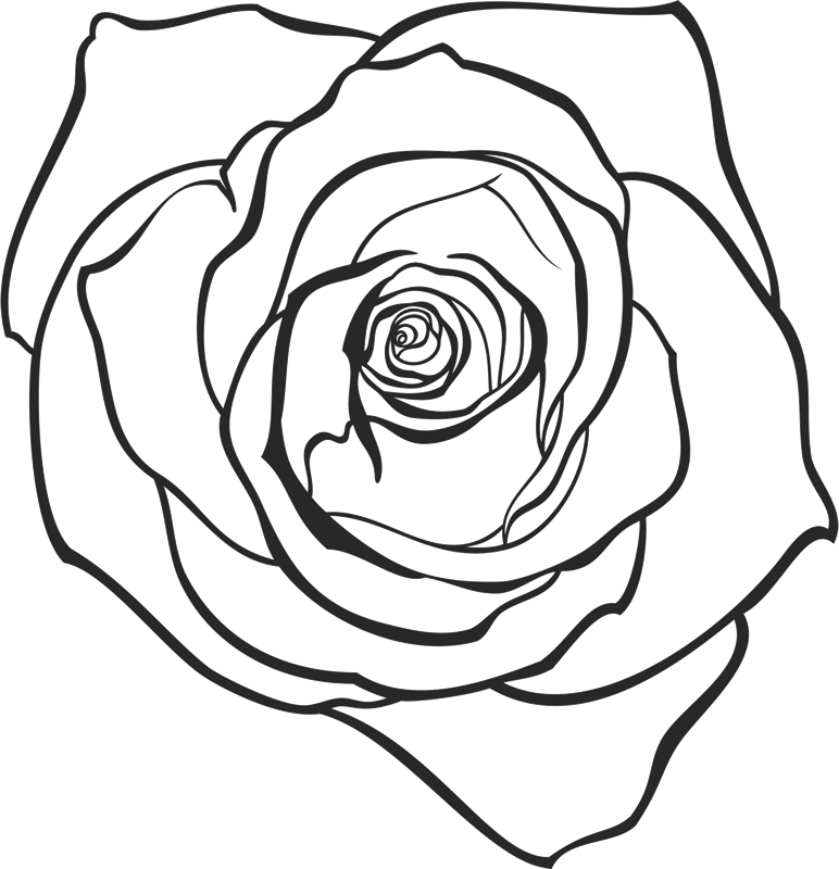 Lovely Drawn Rose Rubber Stamp - Stamptopia
