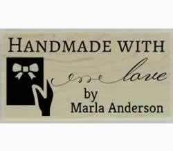 "Marla Handmade With Love Custom Stamp - 1.5"" X 0.75"" - Stamptopia"