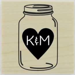 "Mason Jar With Heart Monogram Stamp - 1.5"" X 1.5"" - Stamptopia"