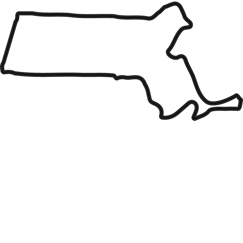 Massachusetts Outline Rubber Stamp - Stamptopia