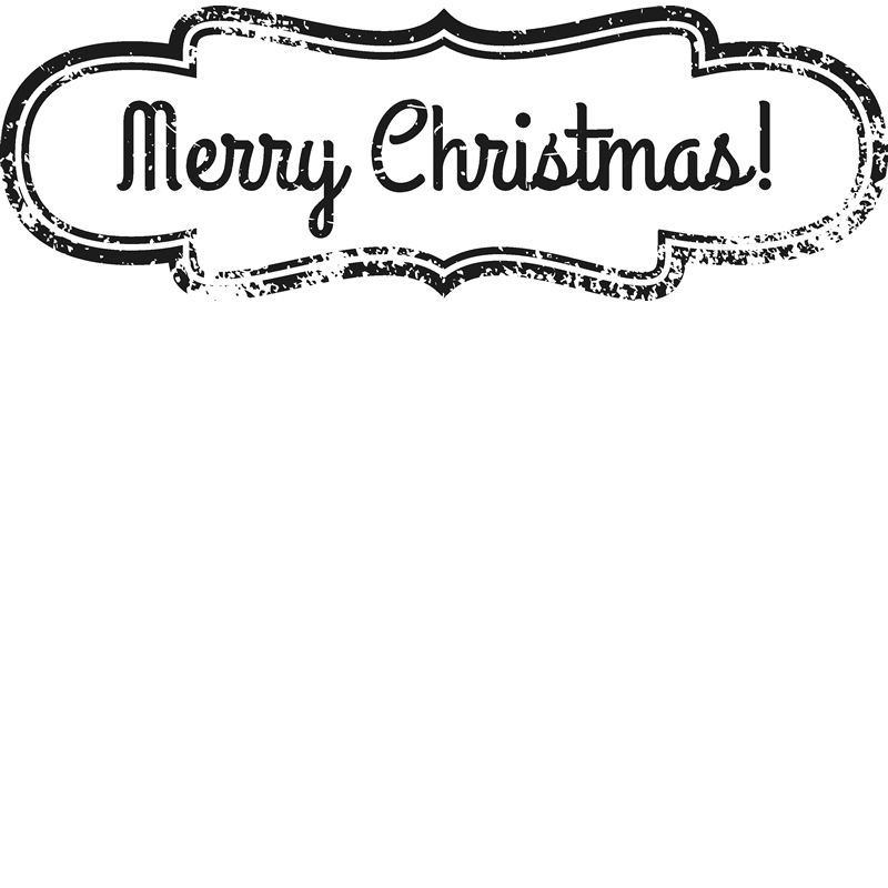 Merry Christmas Badge Rubber Stamp - Stamptopia