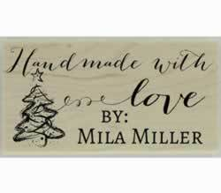 "Mila Handmade With Love Custom Stamp - 1.5"" X 0.75"" - Stamptopia"