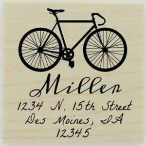 "Miller Bicycle Address Stamp - 1.5"" X 1.5"" - Stamptopia"