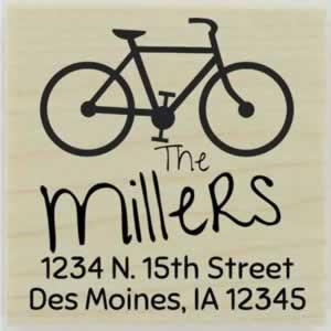 "Miller Bicycle Return Address Stamp - 1.5"" X 1.5"" - Stamptopia"