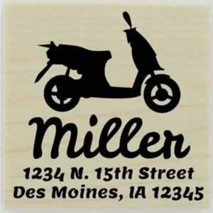 "Miller Custom Moped Address Stamp - 1.5"" X 1.5"" - Stamptopia"