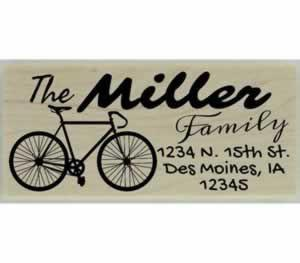 "Miller Road Bike Return Address Stamp - 2.5"" X 1"" - Stamptopia"