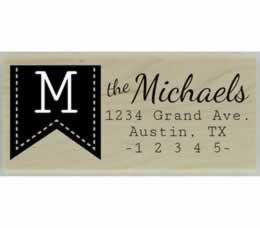 "Monogram Banner Return Address Stamp - 2.5"" X 1"" - Stamptopia"