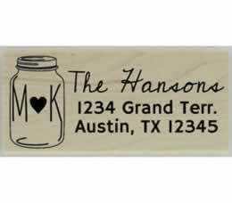"Monogram Mason Jar Return Address Stamp - 2.5"" X 1"" - Stamptopia"