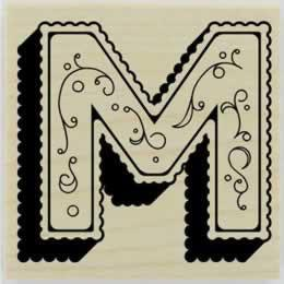 "Monogram With Flourish Designs Stamp - 1.5"" X 1.5"" - Stamptopia"