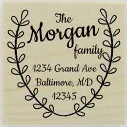 "Morgan Laurel Wreath Border Address Stamp - 2"" X 2"" - Stamptopia"