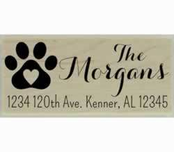 "Morgans Dog Paw Print Address Stamp - 2.5"" X 1"" - Stamptopia"