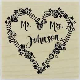 "Mr. & Mrs. Heart Custom Rubber Stamp - 2"" X 2"" - Stamptopia"
