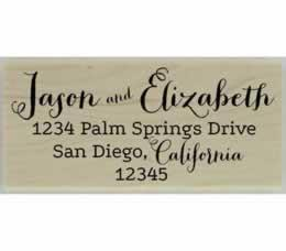 "Name & State Calligraphy Address Stamp - 2.5"" X 1.25"" - Stamptopia"