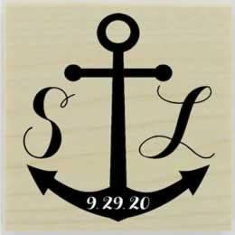 "Nautical Monogram Stamp - 1.5"" X 1.5"" - Stamptopia"