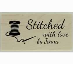 "Needle And Thread Stitched Custom Stamp - 1.5"" X 0.75"" - Stamptopia"