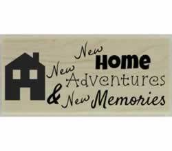 "New Home New Adventure Quote Stamp - 2.5"" X 1"" - Stamptopia"