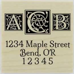 "Ornamental Letter Boxes Return Address Stamp - 1.5"" X 1.5"" - Stamptopia"