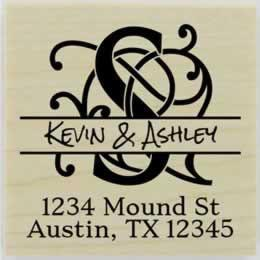 "Ornamental Monogram Name Return Address Stamp - 1.5"" X 1.5"" - Stamptopia"