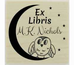 "Owl On Moon Ex Libris Rubber Stamp - 1.5"" X 1.5"" - Stamptopia"