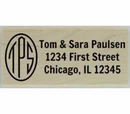 "Paulsen Round Monogram Return Address Stamp - 2.5"" X 1"" - Stamptopia"