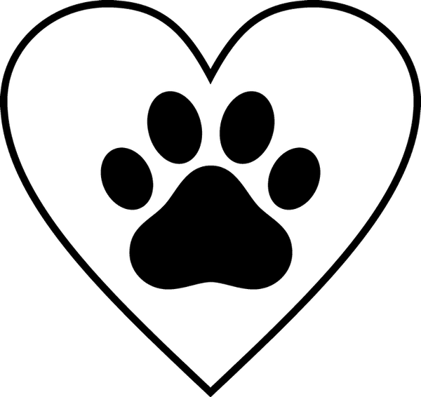 Paw Print In Heart Rubber Stamp - Stamptopia