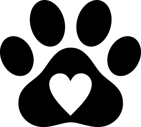 Paw Print With Heart Rubber Stamp - Stamptopia