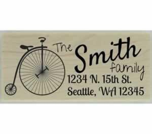 "Penny Farthing Return Address Stamp - 2.5"" X 1"" - Stamptopia"