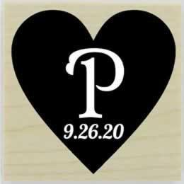 "Personal Monogram And Date In A Heart Stamp - 1.5"" X 1.5"" - Stamptopia"