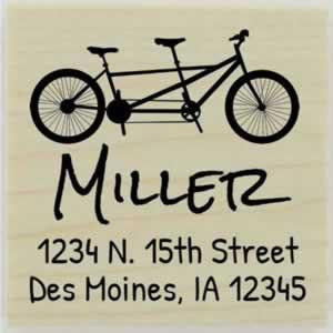 "Personalize Tandem Bicycle Address Stamp - 1.5"" X 1.5"" - Stamptopia"