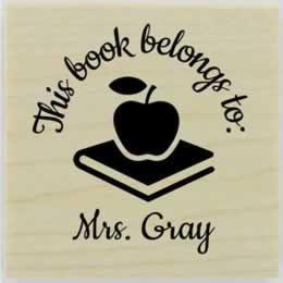 "Personalized Book And Apple Stamp - 1.5"" X 1.5"" - Stamptopia"