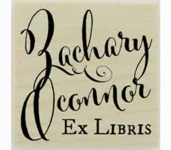 "Personalized Ex Libris Bookplate Rubber Stamp - 1.5"" X 1.5"" - Stamptopia"